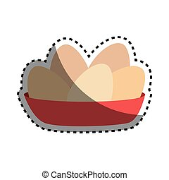 sticker full color dish with eggs vector illustration