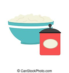 full color bowl with mixture and salt container vector...