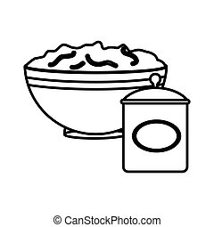 silhouette bowl with mixture and salt container vector...