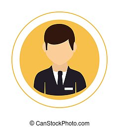 circular frame with half body man with formal suit with tie