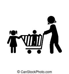 monochrome pictogram with mom and kids and shopping cart