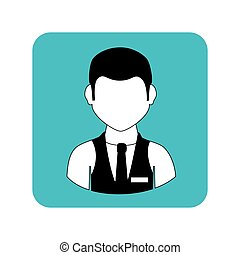 square frame with half body man with waistcoat and tie
