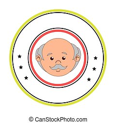 circular border with front face elderly man vector...