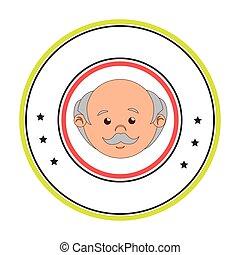 circular border with front face elderly man vector...
