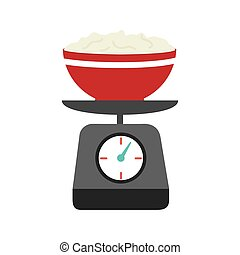full color kitchen weight scale with bowl and mixture vector...