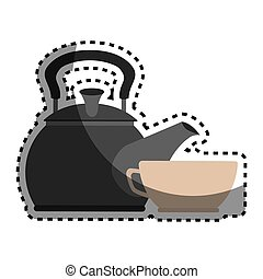 sticker colorful silhouette with tea kettle and porcelain...
