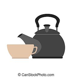 colorful silhouette with tea kettle and porcelain cup vector...