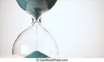 Green Sand Falls White Background Time Passes Hourglass