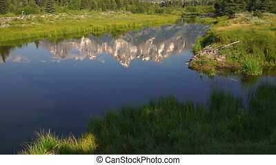 Mountains Reflected Smooth Water Grand Teton National Park -...