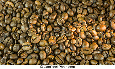 Fresh roasted coffee beans for a background