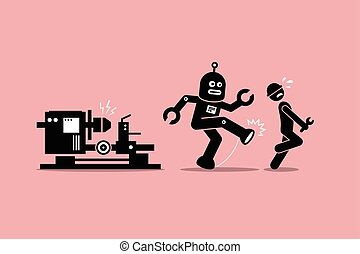 Robot mechanic kicks away a human technician worker from...