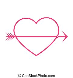 heart arrow - simple thin line heart arrow icon vector