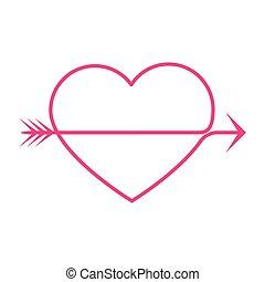 heart arrow - simple thin line heart arrow icon vector