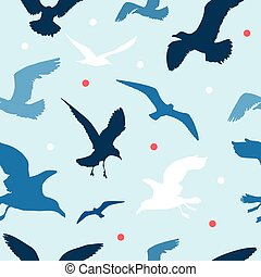 Seamless pattern with seagulls on blue background - Seamless...