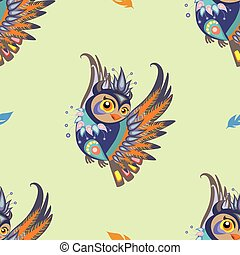 Seamless vector pattern with owl and feathers - Seamless...