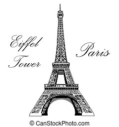 Vector hand drawing illustration Eiffel tower - Vector hand...
