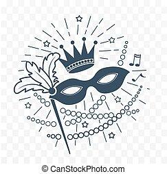 icon Mardi Gras Mask black and white