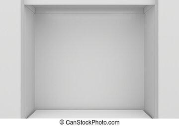 Empty Shop window display. Storefront market 3d rendering