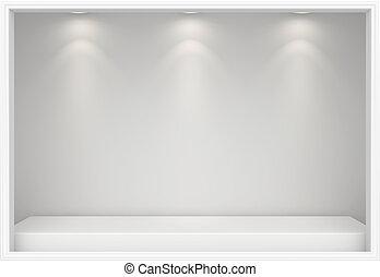 Empty Shop window display. Storefront 3d rendering