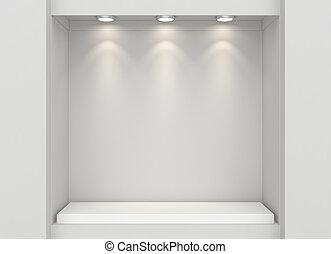 Shop showcase. Mock up - Empty illumination light showcase....