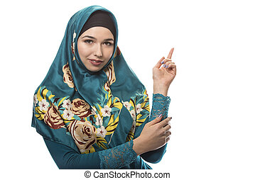 Female Wearing Hijab Advertising - Female wearing a hijab,...