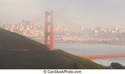 Fog Engulfs Golden Gate Bridge Pacific Ocean San Francisco...
