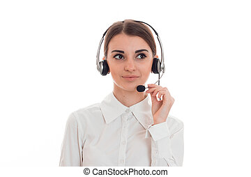 close up of young beautiful call center woman woman with...