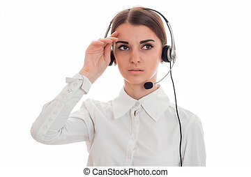 close up of young tired call center woman woman with...