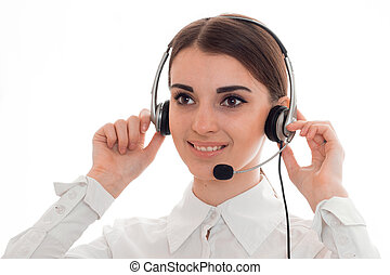 close up of young cheerful call center woman woman with...