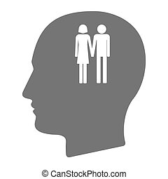 Isolated male head with a heterosexual couple pictogram -...