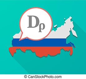 Long shadow Russia map with a drachma currency sign -...