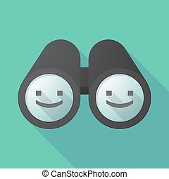 Long shadow binoculars with a smile text face