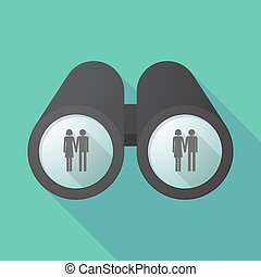 Long shadow binoculars with a heterosexual couple pictogram...