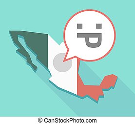 Long shadow Mexico map with a sticking out tongue text face