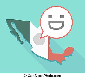 Long shadow Mexico map with a laughing text face