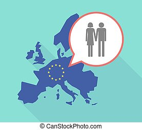 Long shadow EU map with a heterosexual couple pictogram -...