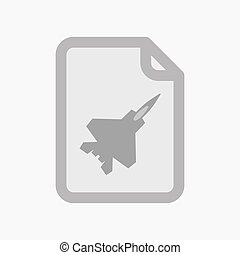 Isolated document with a combat plane