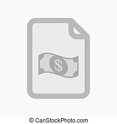 Isolated document with a dollar bank note - Illustration of...