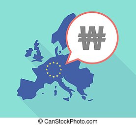 Long shadow EU map with a won currency sign - Illustration...