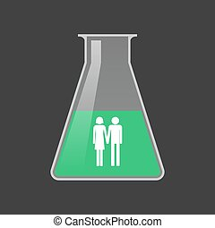 Isolated test tube with a heterosexual couple pictogram -...