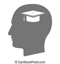 Isolated male head with a graduation cap