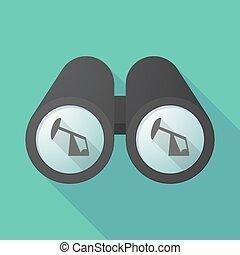 Long shadow binoculars with a horsehead pump - Illustration...