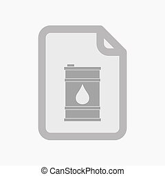 Isolated document with a barrel of oil - Illustration of an...