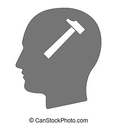 Isolated male head with a hammer - Illustration of an...