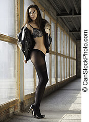 brunette woman in black lingerie - Young slim sexy and...