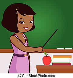 African American female teacher on blackboard - Vector...