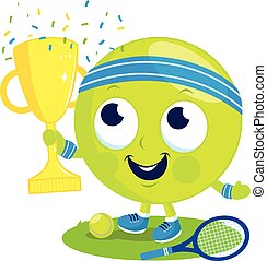 Tennis ball character champion cheering and holding trophy.