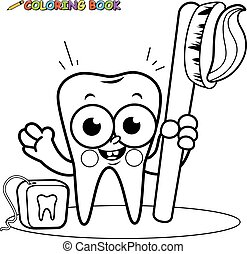 Tooth cartoon character holding toothbrush and dental floss....