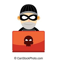 Thief Working With Laptop