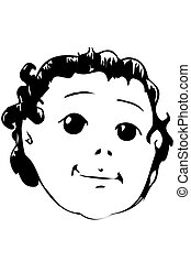 vector sketch of the face of a beautiful baby - black and...